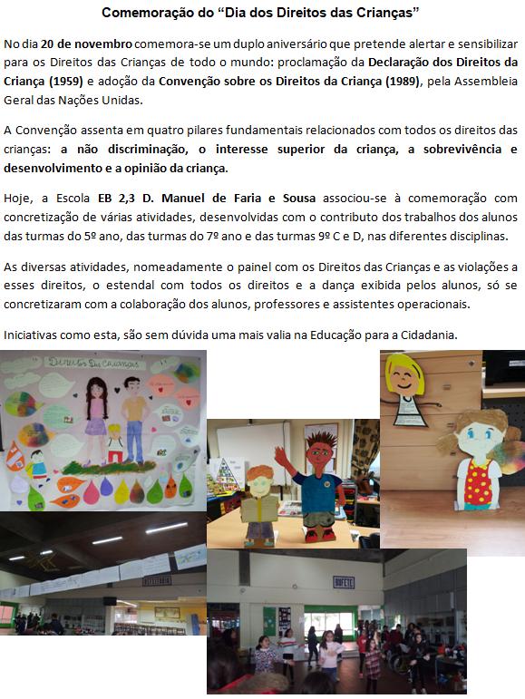 """Comemoração do """"Dia dos Direitos das Crianças"""""""